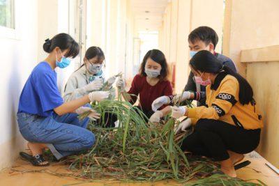Hai nữ sinh lớp 11 trường THPT Trường Chinh chế dung dịch sát khuẩn từ loại cây mọc dại